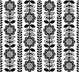 Fiński inspirowany stylem sztuki ludowej bez szwu - czarny, skandynawski, nordycki - 163365947