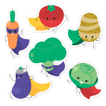 Cartoon vegetable superheroes. Funny vegetable face icon collection. Isolated on white background vector illustration