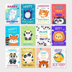 Set of cute animals poster. Cute Happy birthday greeting card for child fun cartoon style