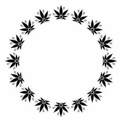 A round black and white frame depicting a stylized silhouette of cannabis leaves.