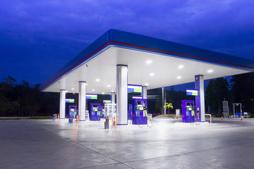 Gas station at night time Wall mural