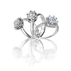 Set of rings. Best wedding engagement ring. 3D illustration
