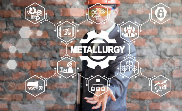 Metallurgy industry 4.0 concept. Man offers metallurgy gear icon on virtual screen. Smart heavy manufacturing.