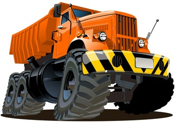 Cartoon dump truck isolated on white background. Available EPS-8 vector format separated by groups and layers for easy edit