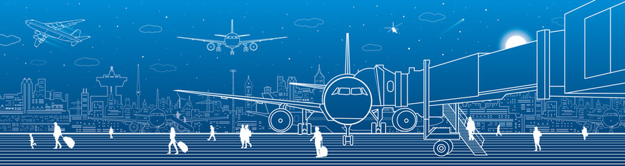 Airport panorama. The plane is on the runway. Aviation transportation infrastructure. Airplane fly, people get on the plane. Night city on background, vector design art