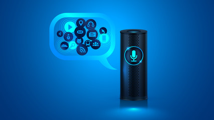 Smart speaker with voice control. Voice control of your smart home. Smart speaker reports the news, plays music, answers questions. VECTOR.