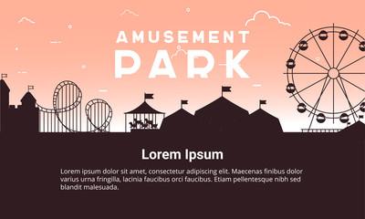 Silhouette amusement park scenery vector flat. Amusement park vector illustration for infographic map design.
