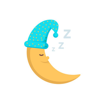 Sleeping moon in nightcap isolated on white background. Crescent in hat