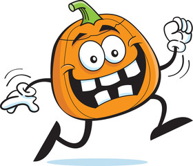 Cartoon illustration of a running pumpkin.