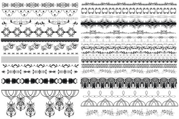 Big collection of vector decorative borders for design