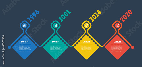 Horizontal Infographic timeline  Vector web template for