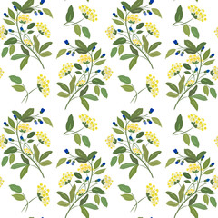Seamless pattern with flowers, leaves and berries on a white background.