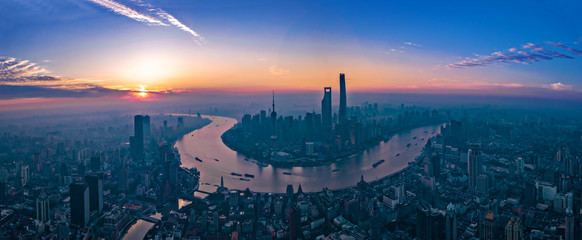 Panorama of sunset with Shanghai city view