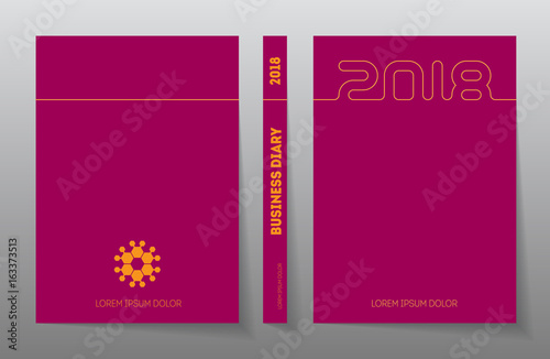 Cover Business Diary For 2018 With Logo Vector Design Template