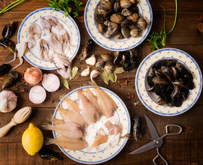 fresh seafood on a wooden background