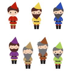 Set of cartoon happy dwarf.