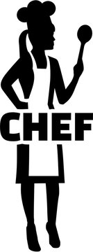 Female chef silhouette with word