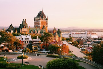 Aluminium Prints American Famous Place Frontenac Castle in Old Quebec City in the beautiful sunrise light. Travel, vacation, history, cityscape, nature, summer, hotels and architecture concept