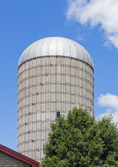Sunny Day Silo on a Farm in the Midwest