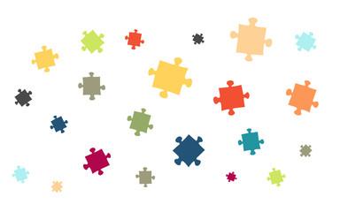 Viele bunte Puzzleteile - Symbole