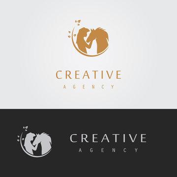 woman care horse logo
