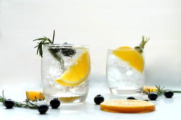 lemon detox water on background.