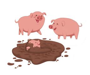Three little pigs cartoon character