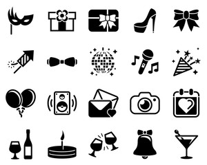 Set of simple icons on a theme Party, Birthday, Holidays, vector, design, collection, flat, sign, symbol,element, object, illustration. Black icons isolated against white background