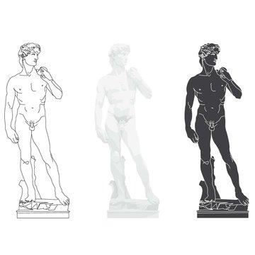 DAVID (Michelangelo). Masterpiece of Renaissance sculpture European Monuments.