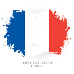 Happy Bastille Day. 14th of July holiday greeting card with french national flag brush stroke background. Vector illustration.