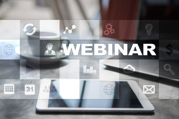 Webinar. E-Learning, Online Education concept. Personal development.
