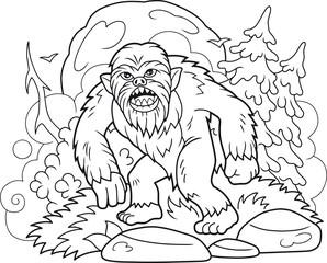 Cartoon bigfoot walks through the forest