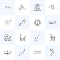 Set Of 16 Editable Trip Icons. Includes Symbols Such As Beauty Insect, Medical Kit, Campfire Cooking And More. Can Be Used For Web, Mobile, UI And Infographic Design.
