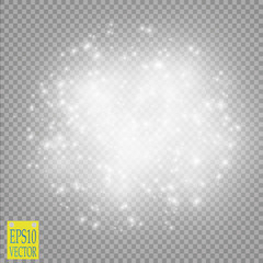 Glow light effect. Cloud of glittering dust. Vector illustration. Christmas