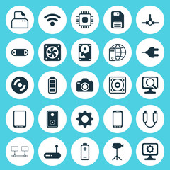 Hardware Icons Set. Collection Of Cellphone, Diskette, Portable Memory And Other Elements. Also Includes Symbols Such As Wireless, Photo, Fan.