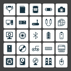 Hardware Icons Set. Collection Of Router, Camera, Internet Network And Other Elements. Also Includes Symbols Such As Wireless, Storage, Cd.