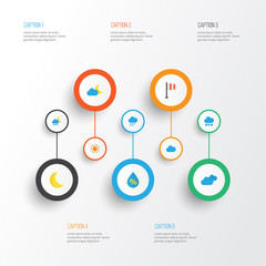 Climate Flat Icons Set. Collection Of Moon, Frosty, Drop And Other Elements. Also Includes Symbols Such As Drip, Clouds, Sun.