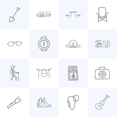 Set Of 16 Editable Camping Icons. Includes Symbols Such As Shovel, Hiker, Musical Instrument And More. Can Be Used For Web, Mobile, UI And Infographic Design.