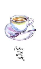 Ceramic cup of traditional Ceylon tea with milk and spoon, in watercolor