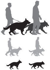 German shepherd dog show, cynologists with pets vector silhouettes