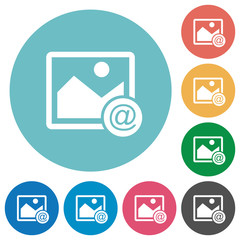 Send image as email flat round icons