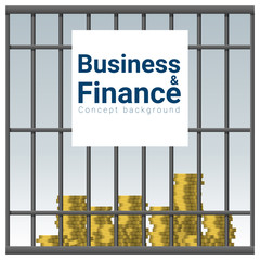 Business and Finance concept background with money in jail , vector , illustration