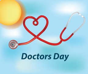 Doctor's Day. Greeting card design with stethoscope vector illustration.