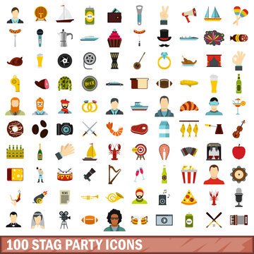 100 stag party icons set, flat style