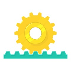 Rack pinion icon, cartoon style