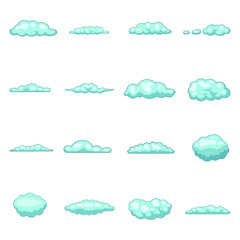 Clouds icons set, cartoon style
