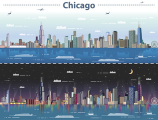 Fototapete - vector illustration of Chicago at day and night