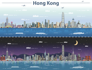 Fototapete - Hong Kong day and night vector illustration
