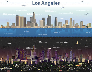 vector abstract illustration of Los Angeles at day and night