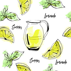Seamless vector pattern of hand drawn lemonade, lemon and mint on watercolor background.